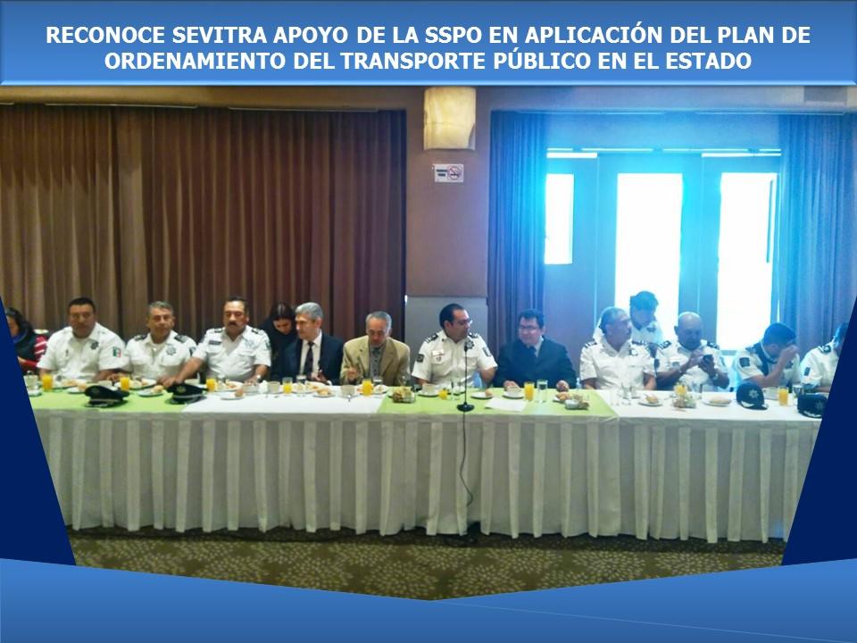 RECONOCE SEVITRA APOYO DE LA SSPO EN APLICACIÓN DEL PLAN DE ORDENAMIENTO DEL TRANSPORTE PÚBLICO EN EL ESTADO